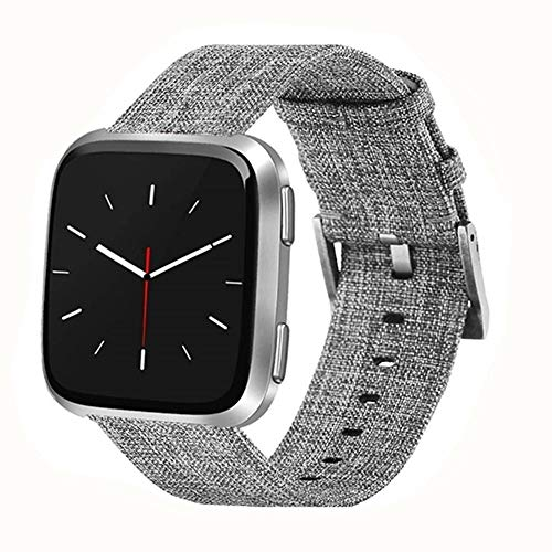 Deyo Compatible Woven Fabric Fitbit Versa Watch Bands Women Men with Protector eCase Cover Quick Releas with Classic Square Stainless Steel Buckle Bands Compatible Fitbit Versa Smartwatch