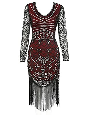1920s Flapper Dress Long Sleeve V Neck Sequin Fringe Cocktail Gatsby Dresses