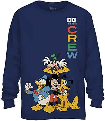 aa73592ac5 Disney Mickey Mouse Crew Donald Duck Goofy Pluto Disneyland World Funny  Graphic Adult Men's Long Sleeve