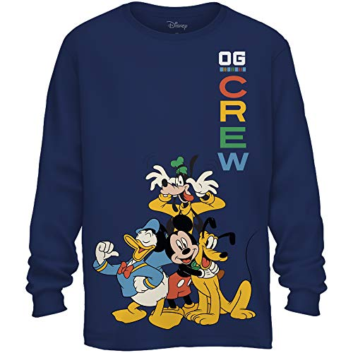 Disney Mickey Mouse Crew Donald Duck Goofy Pluto Disneyland World Funny Graphic Adult Men's Long Sleeve T-Shirt (Navy, Large) ()