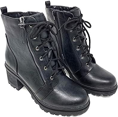 Soda Malia Vegan Round Toe Stacked Lug Heel Lace Up Ankle Booties (5.5, Black Low)