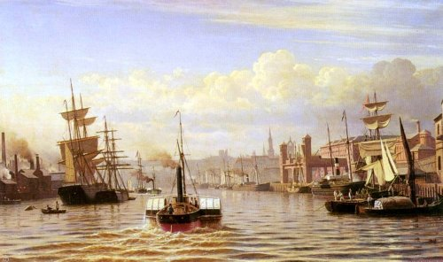 Christian Eckardt Shipping On The River Tyne Newcastle - 24'' x 36'' 100% Hand Painted Oil Painting Reproduction by Art Oyster