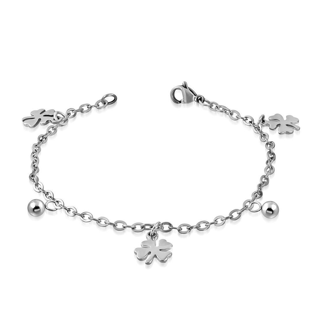 Stainless Steel Love Heart Shamrock Flower Ball Charm Link Chain Bracelet/ Anklet