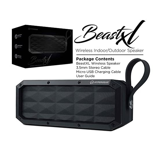 HyperGear Beast XL Rugged Portable IPX6 Waterproof Water Resistant Dustproof Outdoor Indoor Wireless Bluetooth Speakers with Built-in Microphone, Best Loud 30W Bass Stereo Sound for iPhone, Computer 7 ✔️ Made for Adventure With its rugged design, heavy-duty build, and IPX6 certification waterproof, the Beast XL is the perfect travel-friendly sound system. It can withstand splashes, pressurized jets & waves of water. (Product Should Not Be Submerged) ✔️ Double-Duty Speakerphone The integrated Wireless Bluetooth noise-cancelling microphone and touch-friendly controls let you quickly take and make calls with the push of a button. ✔️ Rugged Perfect for Active Lifestyles & Outdoor Enthusiasts Travel light and leave the charger at home. The 6600mAh battery provides up to 16 hours of wireless playtime on a single charge!