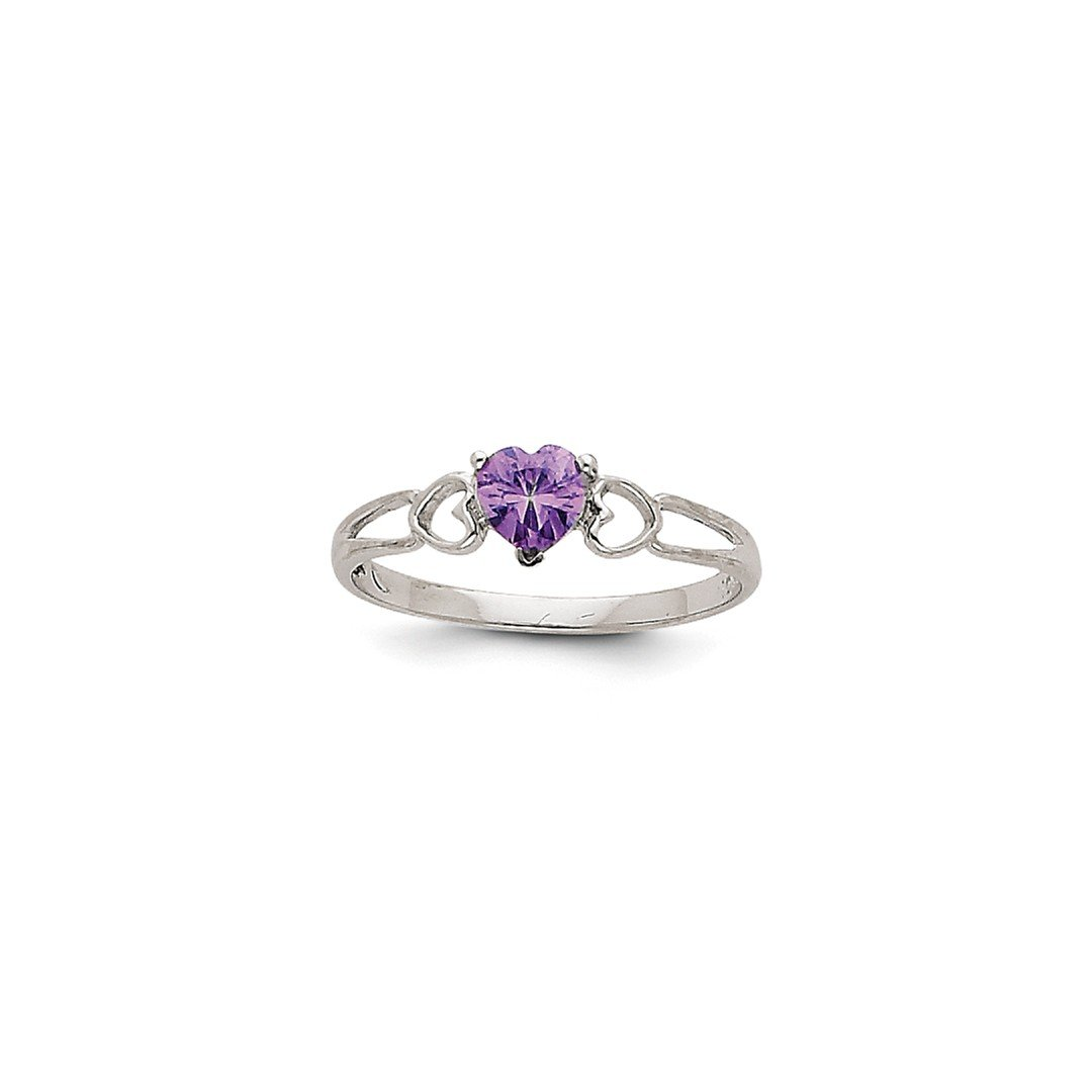 ICE CARATS 14k White Gold Purple Amethyst Birthstone Band Ring Size 6.00 Stone February Style Fine Jewelry Gift Set For Women Heart