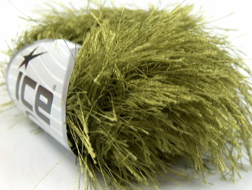 Olive Green Extra Long Eyelash Yarn Ice Luxurious Fun Fur 50gr 38yds - Eyelash Yarn Long