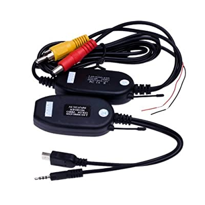 ATian 2.4g Wireless RCA Video Transmitter & Receiver for Car Rearview Camera Monitor