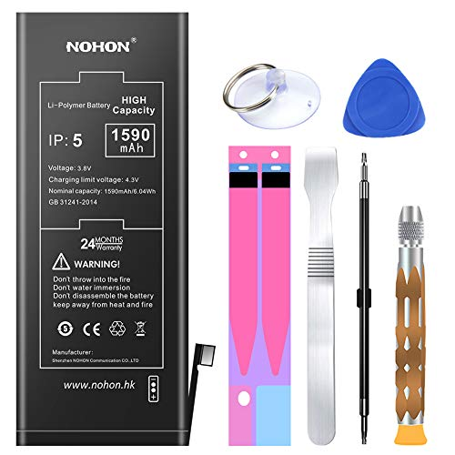1590mAh Battery Replacement Compatible for iPhone 5,NOHON High Capacity Li-ion Battery with Complete Repair Tool Kitand Instructions - Included 24 Months Warranty