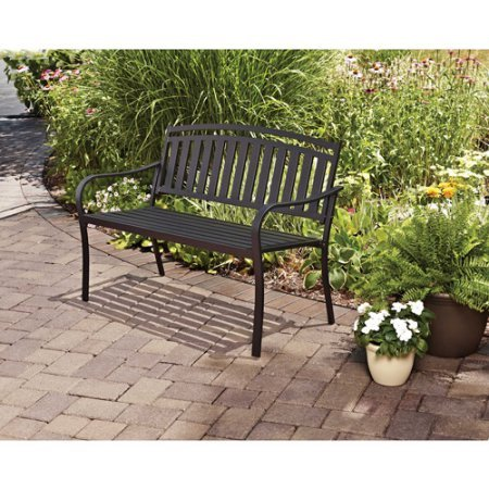 Mainstays Slat Garden Bench, Black by Mainstay