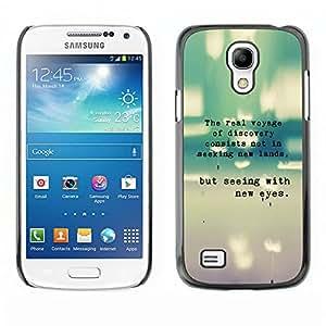 Qstar Arte & diseño plástico duro Fundas Cover Cubre Hard Case Cover para SAMSUNG Galaxy S4 mini VERSION! / i9190 / i9192 ( Inspiring Quote Typewriter Teal Message)