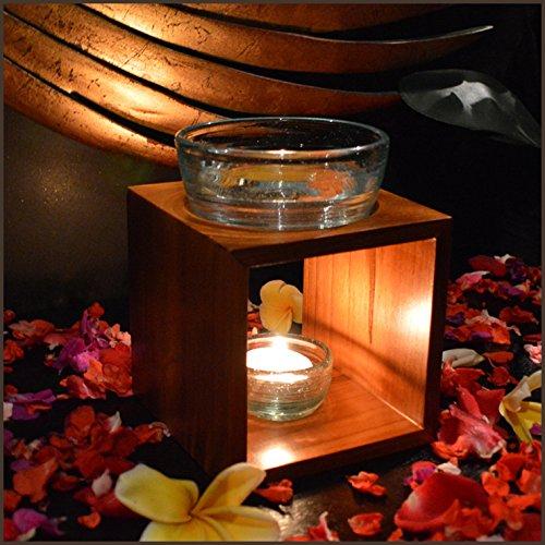 チーク ガラス キャンドル式 石彫り 高級 アロマポット アロマバーナー ナチュラルブラウン バリ雑貨 アジアン雑貨 B00KZMVXUE