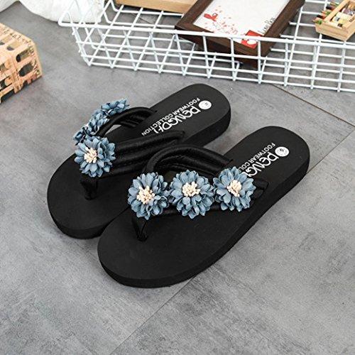 Colorful TM Fashion Women Flower Anti-Skidding Flat Heel Sandals Slipper Beach Shoes Gray vhRhAmB9ZD