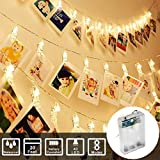 Sunmid  String Lights Photo Clip Lights String Battery Operated Fairy LED Lights for Photo Memos Card Clip Holder in Bedroom for Graduation Birthday Wedding Christmas Party (20Feet 40Led, Warm White)