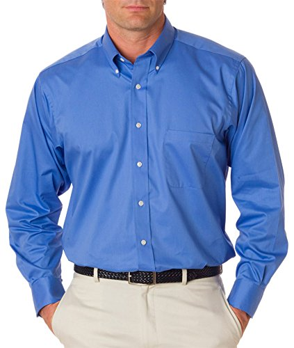 Van Heusen Men's Long Sleeve Relaxed Twill Dress Shirt, Cobalt Blue, XX-Large