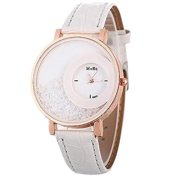 fenkoo Mujer Mode Reloj Quartz PU banda reloj de pulsera Negro/Blanco/Rojo/Naranja/Marrón/lila, Weiß: Amazon.es: Deportes y aire libre