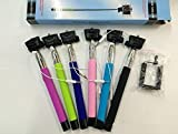 Extendable Quicksnap Self Portrait Selfie Handheld Stick Monopod with Smartphone Adajustable Holder for Iphone Samsung Camera with 1/4 Inch Screw Hole [No Charging Needed]