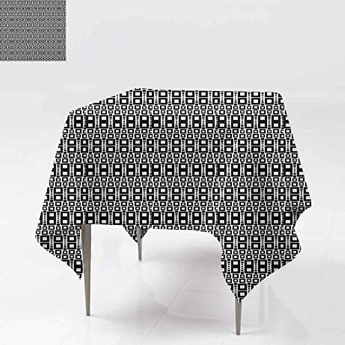Washable Table Cloth Monochrome Squares of Many Sizes Motif with Grid Design Geometric Rows Pattern Indoor Outdoor Camping Picnic W60 xL60 Black White
