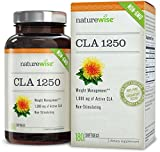 NatureWise CLA 1250, High Potency, Natural Weight Loss Exercise Enhancement, Increase Lean Muscle Mass, Non-Stimulating, Non-GMO 100% Safflower Oil, Gluten Free, 180 count