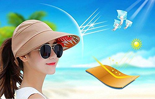 Women's Sun Hat, Summer Leisure UV Protective Visor Hat,Foldable Wide Brim Empty Top Sun Hat for Travel Beach - Khaki by Eastever (Image #6)