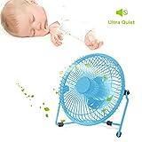 "Henscoqi Portable Mini USB Fan Electric Rechargeable Air Circulator Fan with 3 Leaves (6"" Fan Blue)"