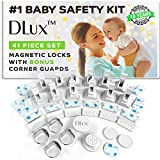 Magnetic Cabinet Locks Child Safety 41-Piece Kit with Extra Corner Guards [12 Magnetic Locks, 2 Keys, 4 Corner Guards] Easy Installation No-Drill Baby Proofing Locks to Childproof Cabinets and Drawers