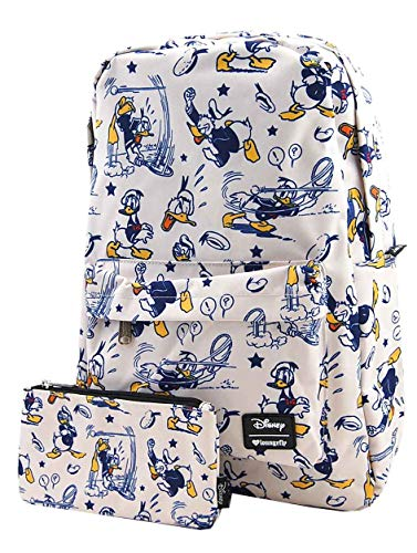 - Loungefly Disney Donald Duck Nylon Backpack and Pouch Set (Off-white)