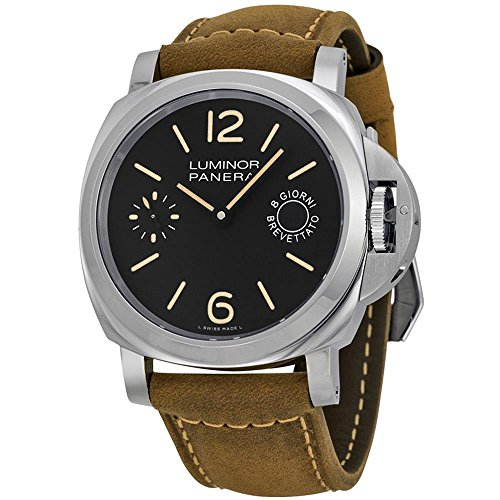 Panerai Men's Stainless Steel Quartz Watch with Canvas Strap, Brown (Model: pam00590)