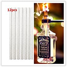 12pcs 0.5 by 9.85 Inch Fiberglass Replacement Tiki Torch Wick for Wine Bottle Tiki Torches,Patio Lighting,Garden Lights,Oil Lamps
