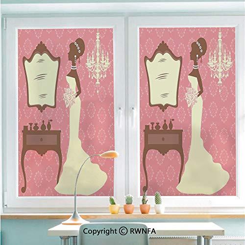RWNFA No Glue Static Cling Glass Sticker Wedding Dress with Flowers and Vanity Swirl Backdrop Decorative,22.8