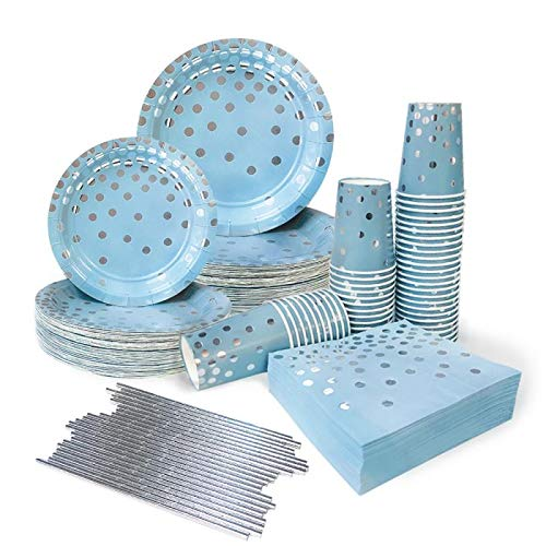 Ottin Blue and Silver Party Supplies 50 Guests Paper Plates and Napkins Set Include Dessert/Dinner Plates Cups Napkins Straws for Wedding Birthday Valentine