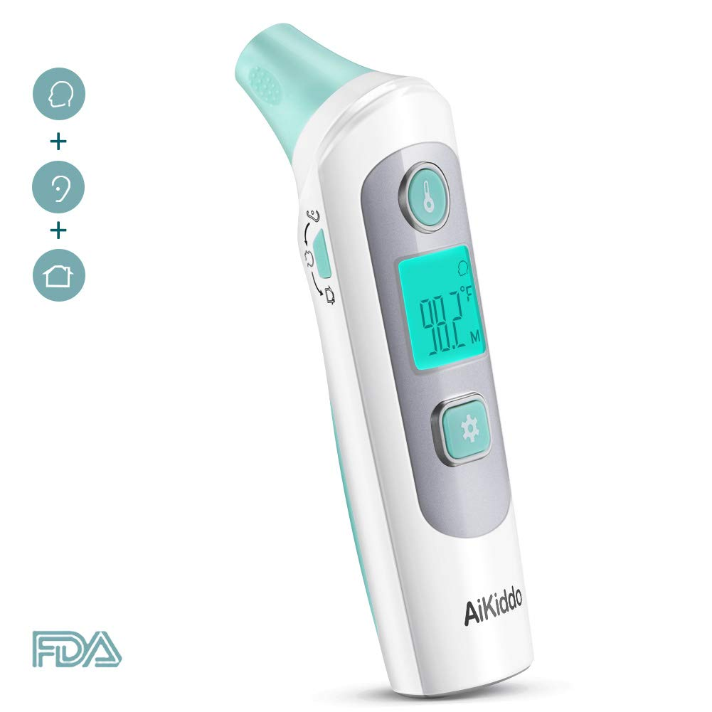 Baby Thermometer, Ear and Forehead Thermometer, AiKiddo Infrared Digital Clinical Medical Thermometers Professional Suitable for Baby, Toddler, Adults and Objects - FDA Approved