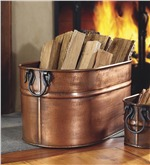 Large Copper Firewood Bucket | Wood Storage | Plow & Hearth