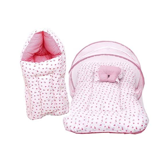 RBC RIYA R Mattress with Mosquito Net & Sleeping Bag Combo 0-6 Months (0-6 Months Pink & White)