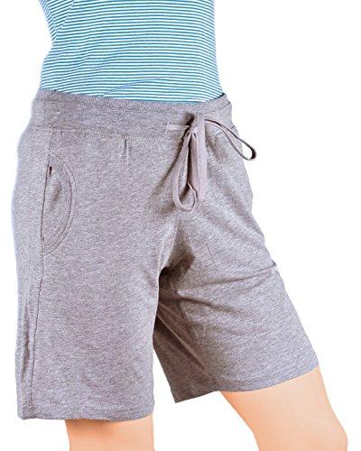 Maks Ladies Drawstring Cotton Lycra Euro Design Casual Sports Barmuda Shorts (XX-Large, Heather Grey)