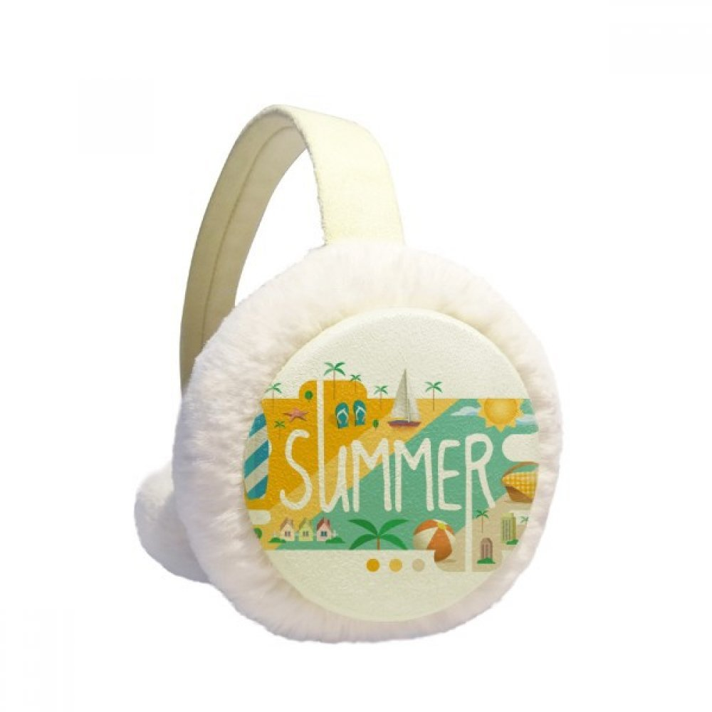 Summer Season Illustration Winter Earmuffs Ear Warmers Faux Fur Foldable Plush Outdoor Gift