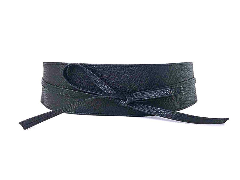 Womens PU Leather Obi Waist Belt Adjustable Length Sash