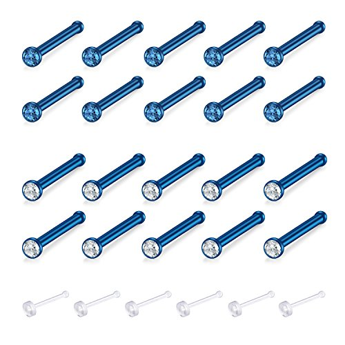 Zolure Surgical Steel Nose Pin Bone Studs 18 Gauge 20-30PCS Body Piercing Set Jewellery Blue