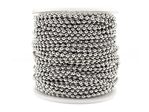 CleverDelights Ball Chain Roll - 100 Feet - Antique Silver (Platinum) Color - 2.4mm Ball - #3 Size (Dog Tag Chain Packs)