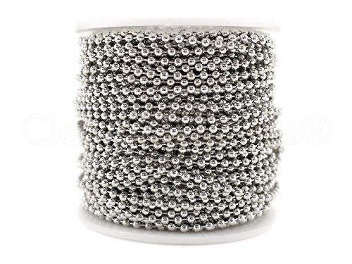 Silver Dog Beads - CleverDelights Ball Chain Roll - 100 Feet - Antique Silver (Platinum) Color - 2.4mm Ball - #3 Size