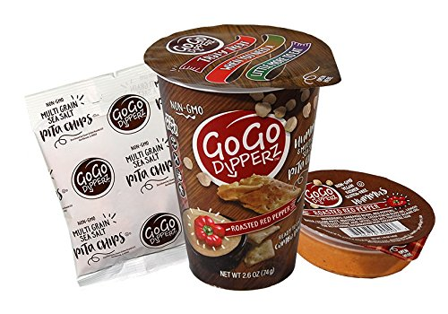 GoGo Dipperz Healthy On-the-Go Roasted Red Pepper Hummus and Multi-Grain Sea Salt Pita Chips - 2.6 oz Combo Packs (Case of 6) (Hummus Chips Pita)