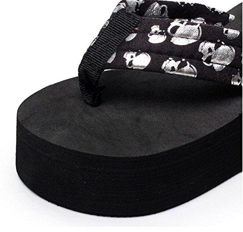 Sandalias De Plataforma Con Estampado De Flores Para Mujer Sandalias De Tacón Alto