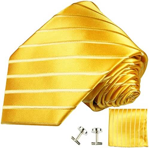 Gold Extra Long Silk Necktie, Pocket Square and Cufflinks