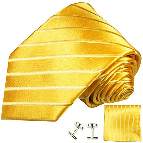 Gold Silk Tie, Pocket Square and Cufflinks by Paul Malone