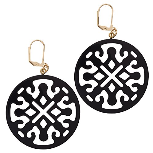 L. Erickson Medallion Filigree Earrings - Black (Filigree Medallion)