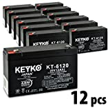 KEYKO Genuine KT-6120 6V 12Ah Battery SLA Sealed Lead Acid / AGM Replacement - F1 Terminal - 12 Pack
