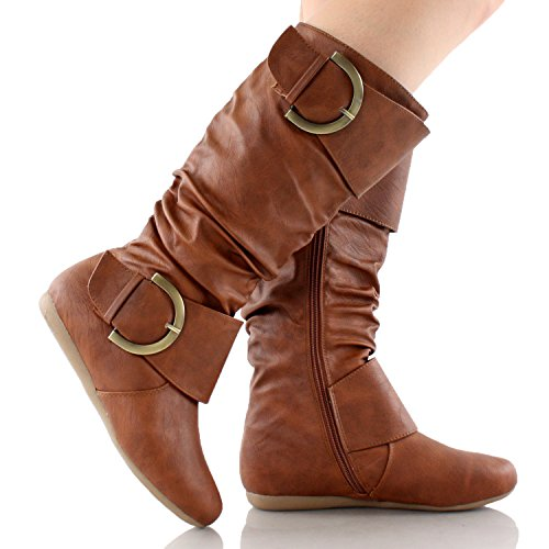 Top Moda Women's Round Toe Slouchy Boot with Buckle