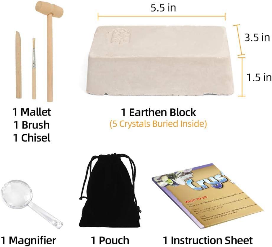 Crystal Mining Kit Excavate 5 Gems Treasure Great Educational STEM Gift for 6+