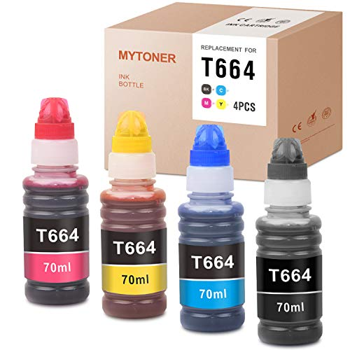 MYTONER Compatible Ink Bottle Replacement for Epson 664 T664 use for Expression ET-4550 ET-2650 ET-2550 ET-4500 ET-2500 ET-2600 ET-16500 Printer (Black, Cyan, Magenta, Yellow, 4-Pack)