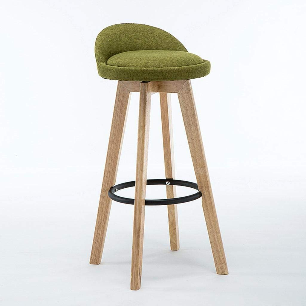 L Bar Stool, Retro Kitchen Stools with Solid Wood High Stools PU & Linen Leather Seat Kitchen Counter Bar Chair,360 Degrees Swivel Iron Foot Design, Breakfast Bar Chair,D