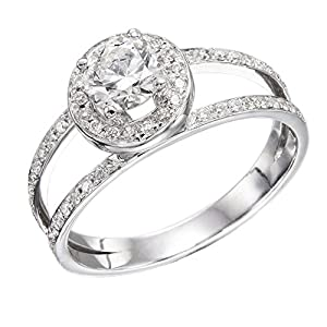 IGI Certified 14k white-gold Round Cut Diamond Engagement Ring (0.67 cttw, H Color, SI1 Clarity) - size 4.5